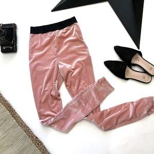 Lovers & Friends Pink Velvet Ribbed Leggings XS